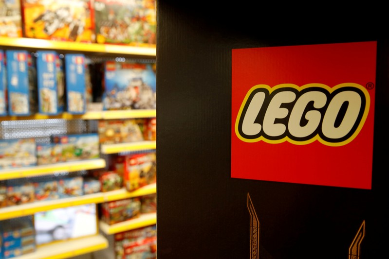 FILE PHOTO: Lego logo is seen at a toy store in Bonn