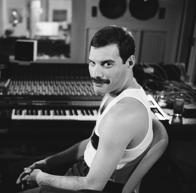 Freddie Mercury is seen in this undated still image