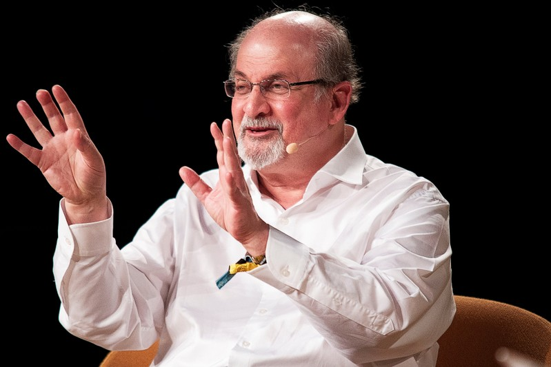 The writer Salman Rushdie interviewed during Heartland Festival in Kvaerndrup