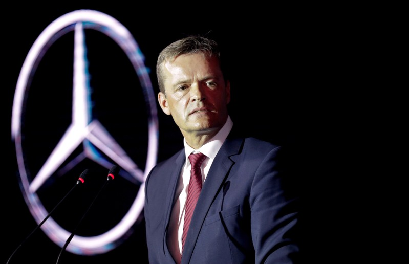 FILE PHOTO: Markus Schaefer, a member of the divisional board of Mercedes-Benz Cars, speaks at a new Mercedes-Benz plant's cornerstone laying ceremony in the town of Esipovo outside Moscow