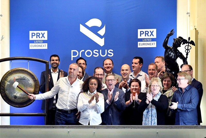 Bob van Dijk, CEO of Naspers and Prosus Group poses at Amsterdam's stock exchange, as Prosus begins trading on the Euronext stock exchange in Amsterdam