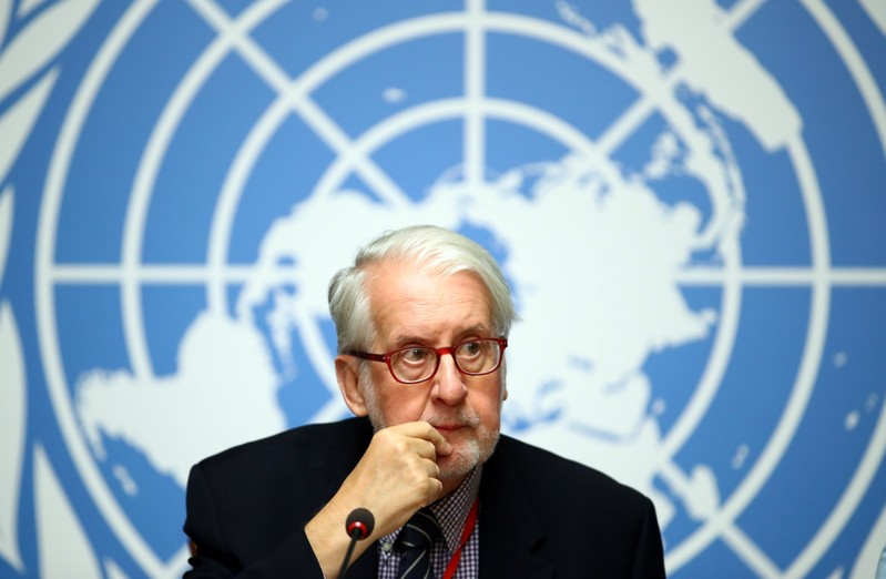 Pinheiro Chairperson of the Commission of Inquiry on Syria attends a news conference during the Human Rights Council in Geneva