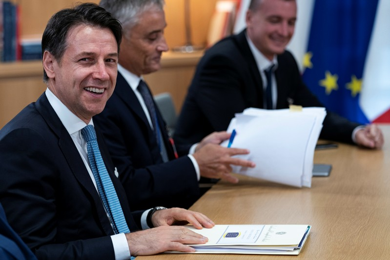 Italian Prime Minister Giuseppe Conte attends a meeting with the European Council President Donald Tusk in Brussels