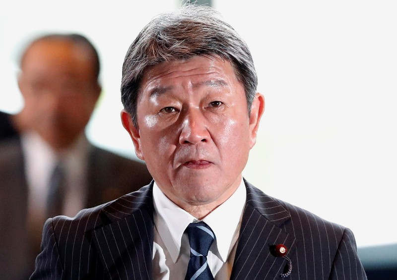 Japan's new Foreign Minister Toshimitsu Motegi arrives at Prime Minister Shinzo Abe's official residence in Tokyo