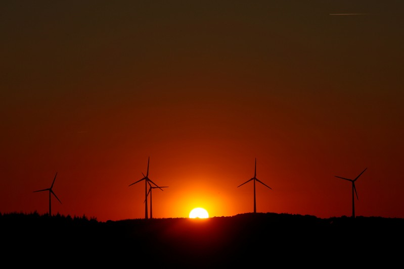 FILE PHOTO: Power-generating windmill turbines are pictured during sunset at a wind park in Campeneac