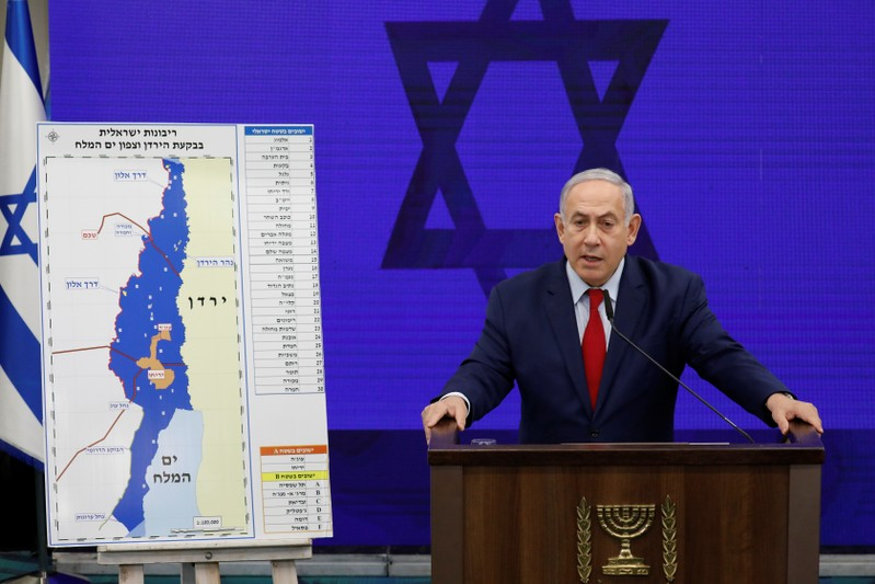 Israeli PM Netanyahu delivers a statement in Ramat Gan, near Tel Aviv