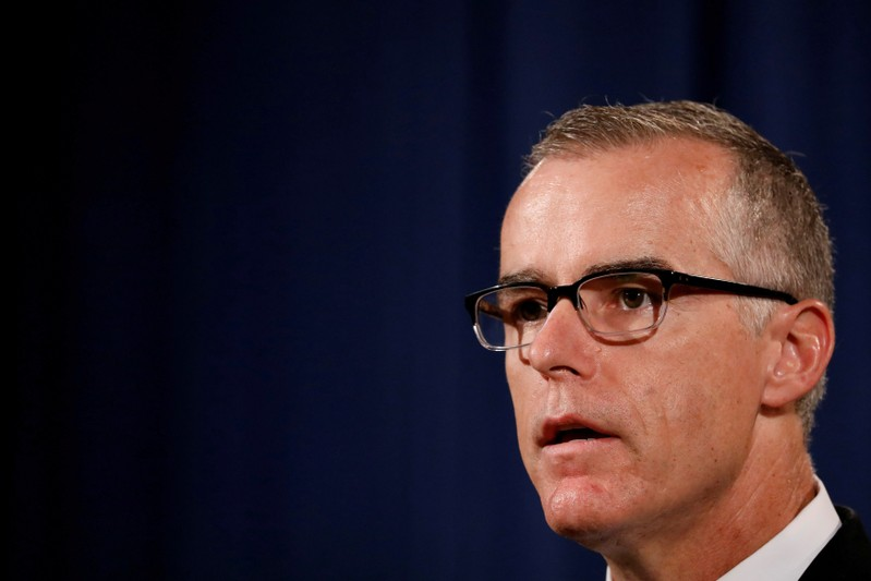 FILE PHOTO: FBI Acting Director Andrew McCabe speaks during a news conference announcing the takedown of the dark web marketplace AlphaBay, at the Justice Department in Washington