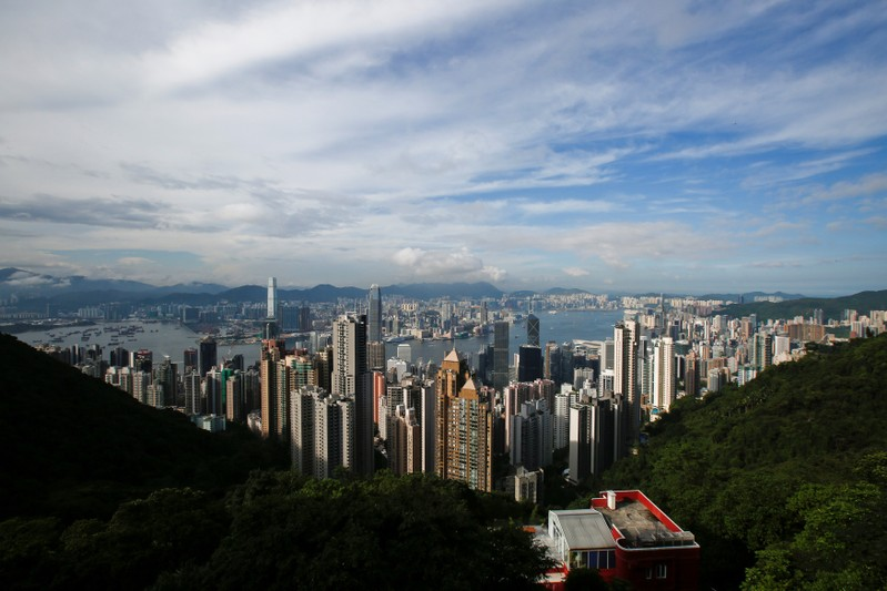 A general view of the Victoria Harbour from the Peak in Hong Kong