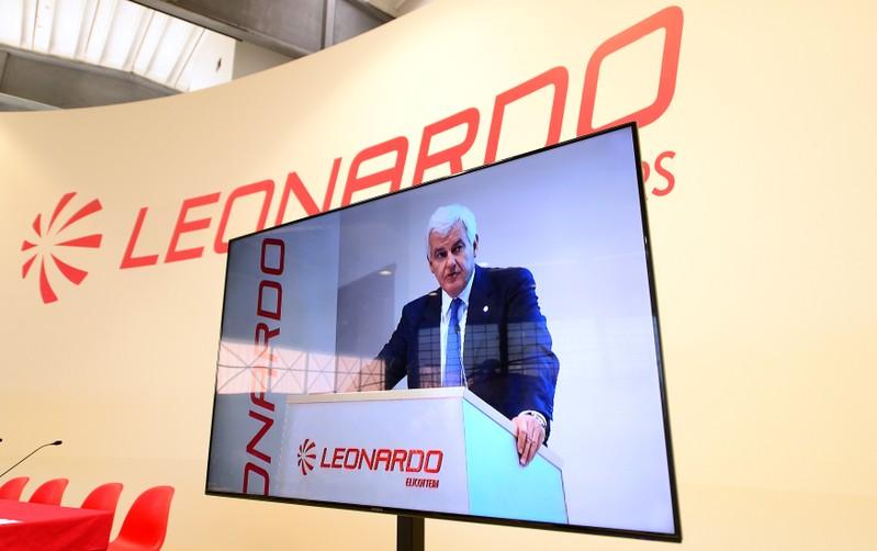 FILE PHOTO: Leonardo CEO Alessandro Profumo seen on a screen at the Italian defence group's Milan headquartersergiate