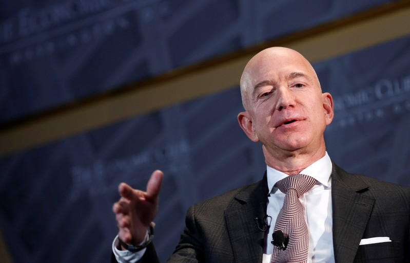 Jeff Bezos, president and CEO of Amazon and owner of The Washington Post, speaks at the Economic Club of Washington DC's