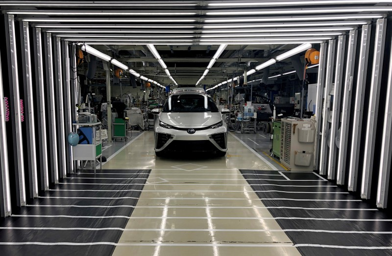 FILE PHOTO: A Toyota Mirai fuel cell vehicle awaits final inspection at a Toyota Motor Corp. factory in Toyota