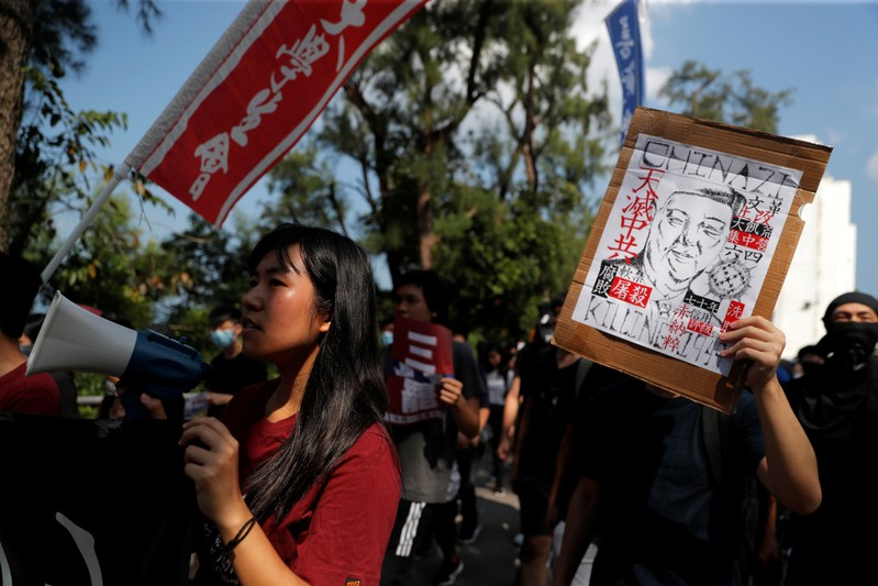Students' march on the campus of the Chinese University of Hong Kong