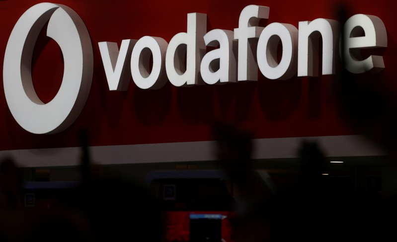 The Vodafone logo is seen at the Mobile World Congress in Barcelona