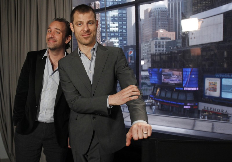 Matt Stone and Trey Parker pose for a photo in New York