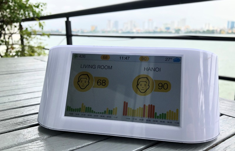 AirVisual monitoring station produced by Swiss firm IQair is seen by the West Lake in Hanoi