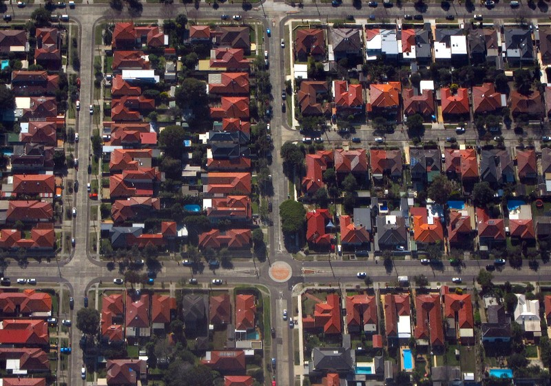 FILE PHOTO: Houses located in the Sydney suburb of Coogee can be seen in this aerial picture in Australia