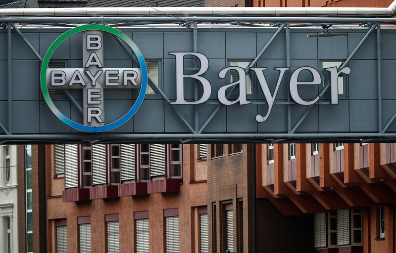 Logo of Bayer AG at a plant of the German pharmaceutical and chemical maker in Wuppertal