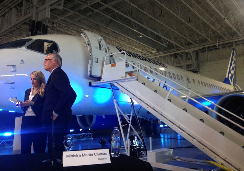 FILE PHOTO: Delta Air Lines' incoming CEO Ed Bastian stands in front of a Bombardier CS100 aircraft during a news conference at Mirabel airport