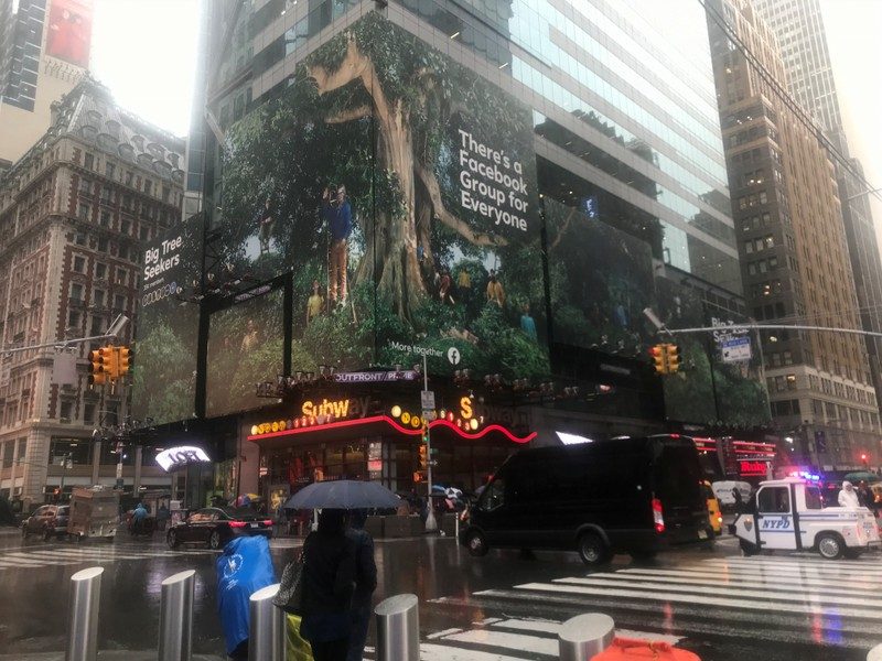 A Facebook ad is pictured in Times Square in New York