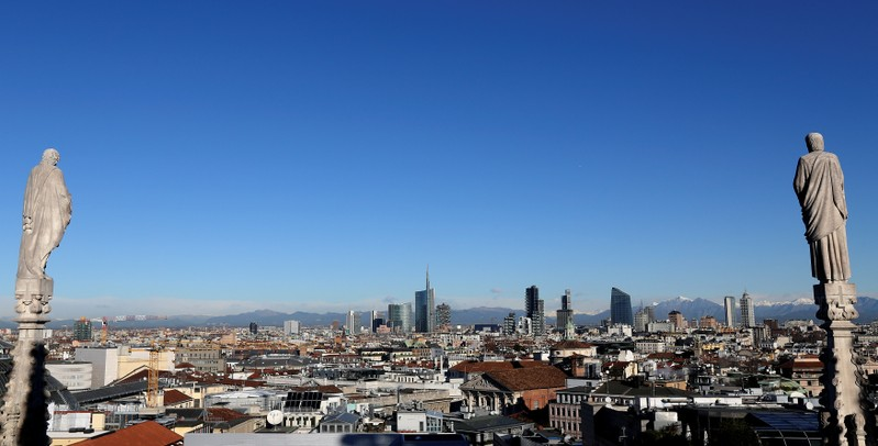 FILE PHOTO: Milan's business district skyline is seen from Duomo's Cathedral downtown Milan
