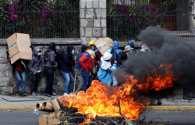 The streets of downtown Quito resembled a war zone