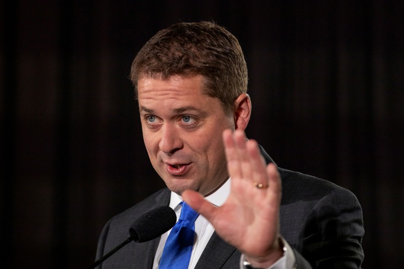 Leader of Canada's Conservatives campaigns in Burnaby BC