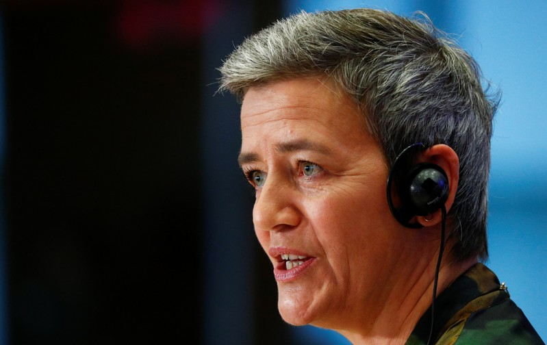 FILE PHOTO:  European Commissioner-designate for Europe Fit for Digital Age Margrethe Vestager of Denmark attends her hearing before the European Parliament in Brussels