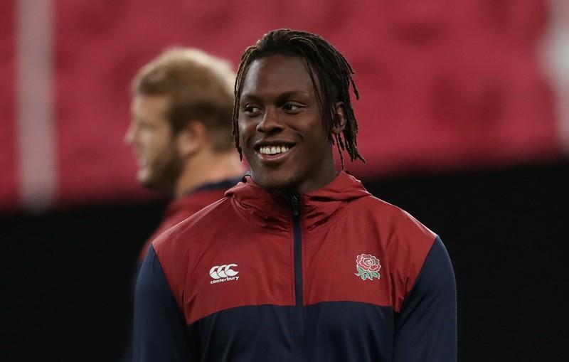 England's Maro Itoje smiles during training in Sapporo