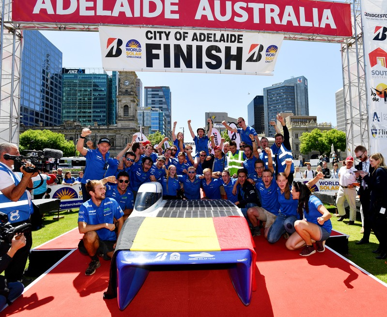 Belgian Agoria Solar Team members are seen at the finish line of the 2019 World Solar Challenge at Victoria Square in Adelaide