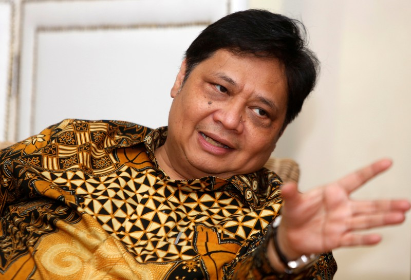 FILE PHOTO:  Airlangga Hartarto, Indonesia's Industry Minister, speaks during an interview with Reuters at his office in Jakarta