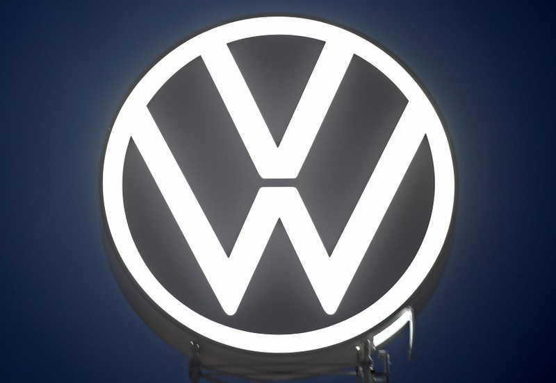 FILE PHOTO: A new logo of German carmaker Volkswagen is unveiled at the VW headquarters in Wolfsburg