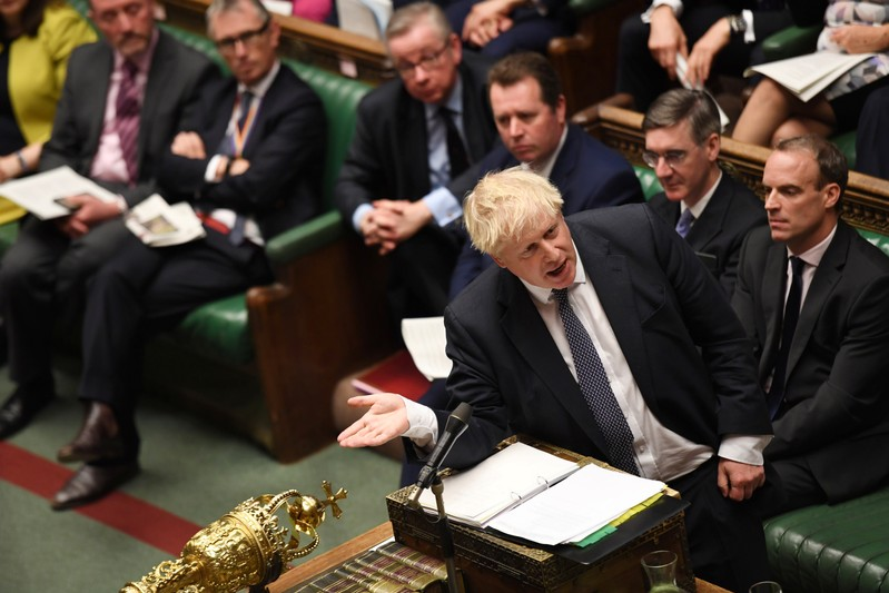 Britain's Prime Minister Boris Johnson is seen at the House of Commons in London