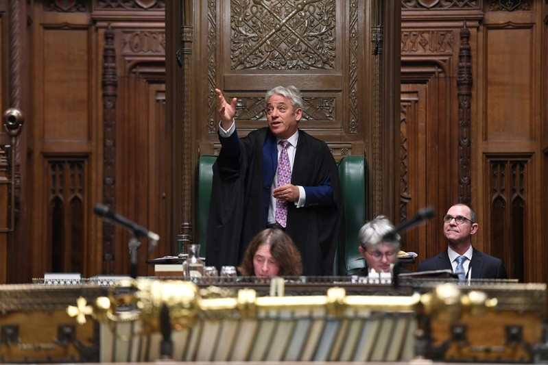 MP John Bercow speaks at the House of Commons Chamber for the final time as Speaker, in London