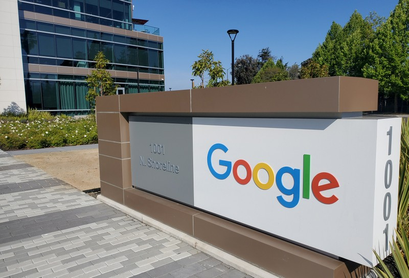 FILE PHOTO: FILE PHOTO: A sign is pictured outs a Google offcie near the company's headquarters in Mountain View, California