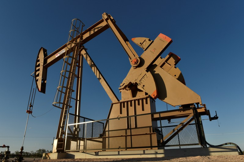 A pump jack on a lease owned by Parsley Energy operates in the Permian Basin near Midland