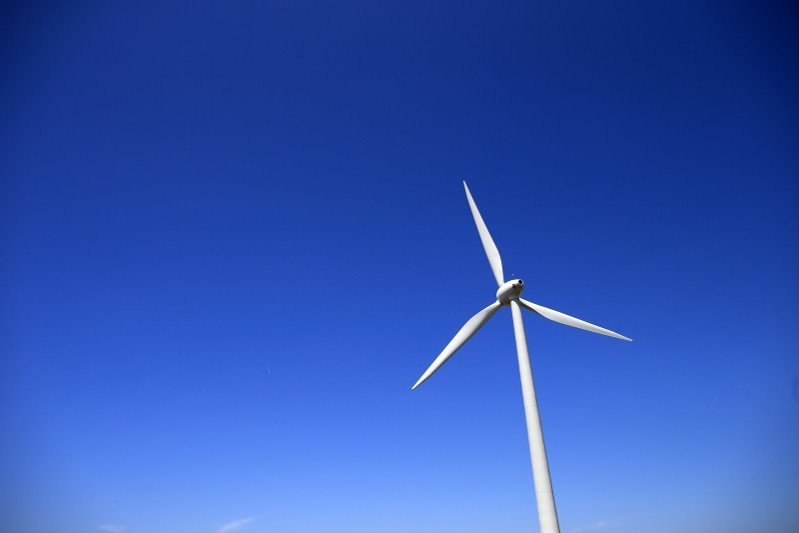 A views shows an E-66 wind turbine manufactured by German company Enercon in Nibas, Picardie region