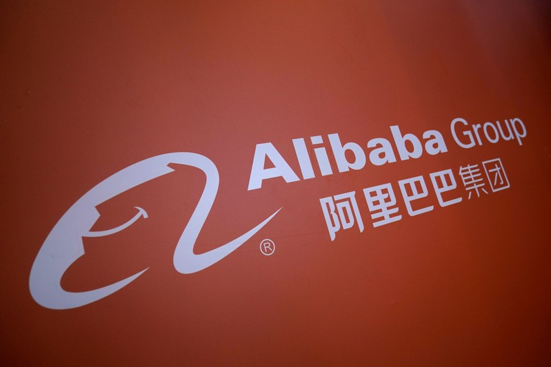 FILE PHOTO: A logo of Alibaba Group is seen at the World Internet Conference (WIC) in Wuzhen