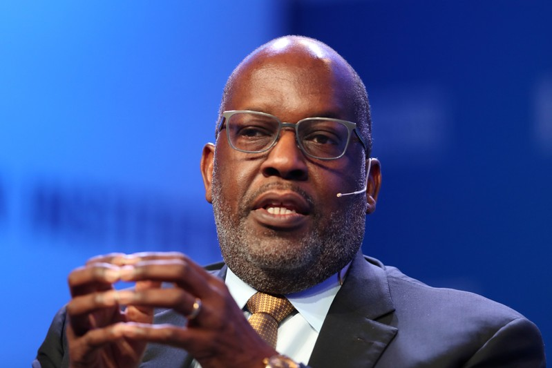FILE PHOTO: Bernard J. Tyson, Chairman and CEO of Kaiser Permanente, speaks at the 2019 Milken Institute Global Conference in Beverly Hills