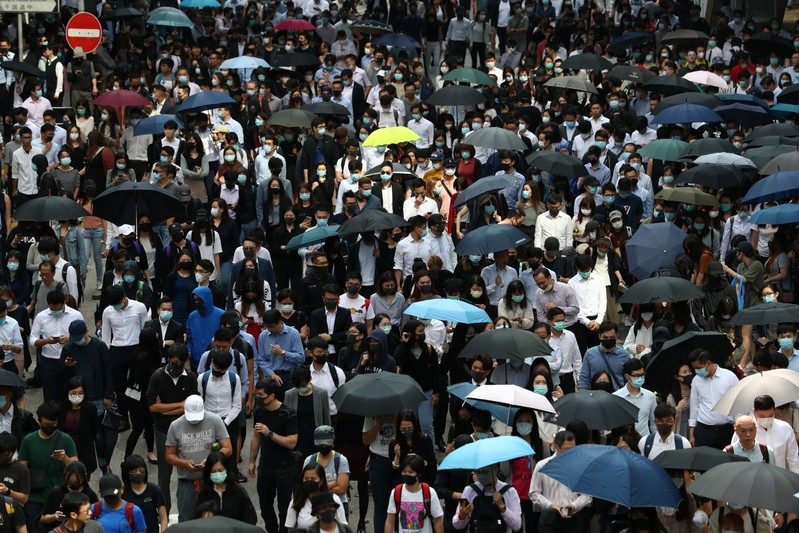 Anti-government protesters gather at the Central District in Hong Kong