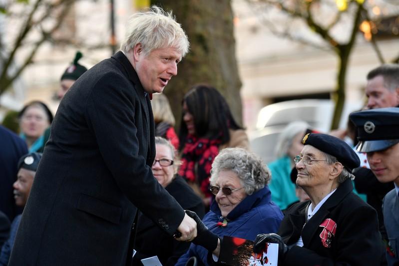 Britain's Prime Minister Boris Johnson attends a remembrance service in Wolverhampton