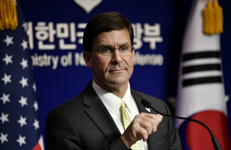 U.S. Defense Secretary Esper and South Korean Defense Minister Jeong hold a joint press conference after the 51st SCM in Seoul