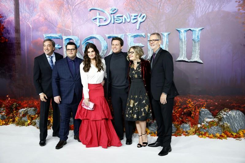 Josh Gad, Idina Menzel, Jonathan Groff, Jennifer Lee, Chris Buck and Peter Del Vecho attend the European premiere of Frozen 2 in London