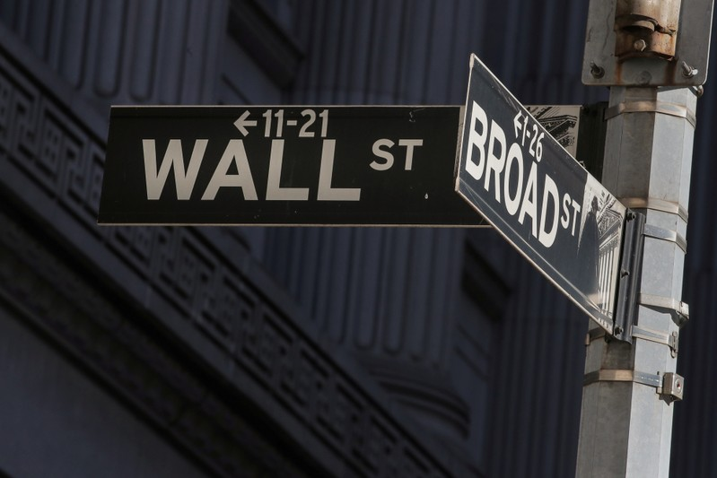 FILE PHOTO: Street signs for Broad St. and Wall St. are seen outside of the NYSE in New York