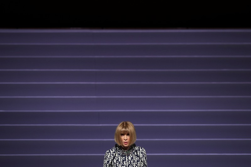 Editor-in-chief of Vogue Anna Wintour delivers a speech during the Vogue