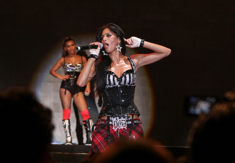FILE PHOTO: Nicole Scherzinger of U.S. pop group Pussycat Dolls performs during their concert in Beirut