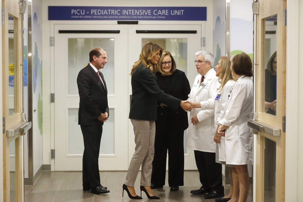 Melania Trump visits Boston Medical Center amid employee protests