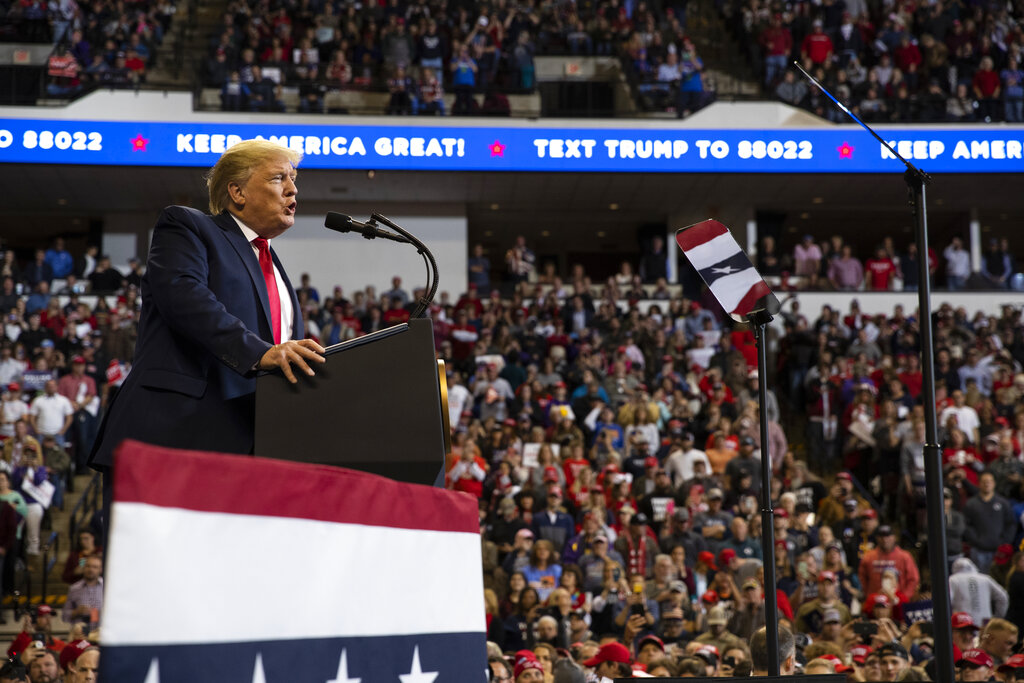 President Donald Trump speaks during a campaign rally at the Century Link Center Thursday Nov. 14 2019 in Bossier City La