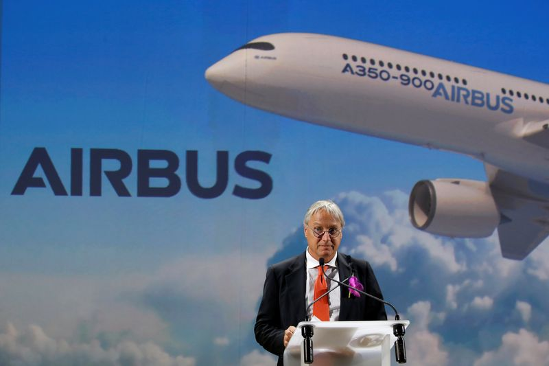 Christian Scherer, Airbus Chief Commercial Officer, speaks during a news conference for the delivery of the first Fiji Airways A350 XWB airliner at the aircraft builder's headquarters of Airbus in Colomiers near Toulouse