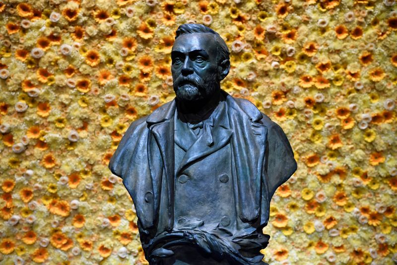 A bust of the Nobel Prize founder, Alfred Nobel, at the Concert Hall during the Nobel Prize award ceremony in Stockholm