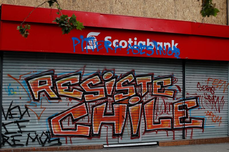 FILE PHOTO: Bank gate is seen graffitied during a protest against Chile's government in Santiago